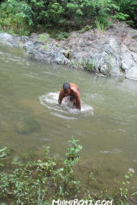 Latin boy cleaning the fuckholes in the river