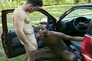 Excited black amateur gay sucking a big dick in the car