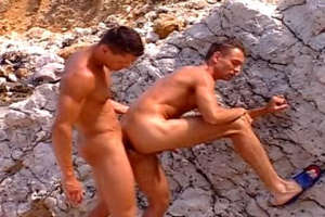 Nasty gay getting ass licked and pounded on the rocks