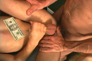 Skinny gay getting cock sucked and anally fucked for cash
