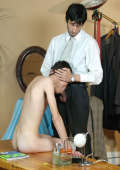 Older tailor fills a boy's mouth and ass with dick