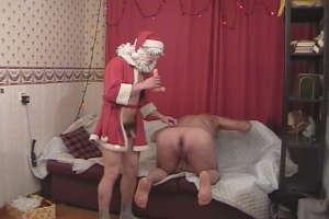 Perverted Santa toying dirty asshole