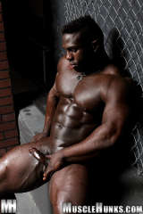 Black muscle hunk JOE plays with dick